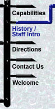 menu bar: capabilities, history / staff intro, directions, contact us, welcome